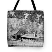 Colorado Rocky Mountain Barn Bw Tote Bag