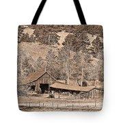 Colorado Rocky Mountain Barn Sepia Tote Bag