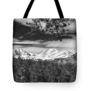 Colorado Rocky Mountain View Black And White Tote Bag