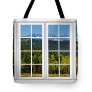 Colorado Rocky Mountains White Window Frame View Tote Bag