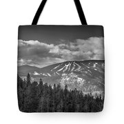 Colorado Ski Slopes In Black And White Tote Bag
