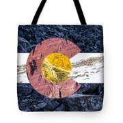 Colorado State Flag With Mountain Textures Tote Bag by Aaron Spong