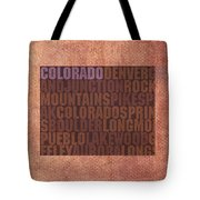 Colorado Word Art State Map On Canvas Tote Bag by Design Turnpike