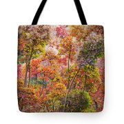 Colored Pallet Smoke Trees Tote Bag