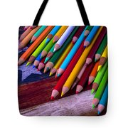Colored Pencils On Wooden Flag Tote Bag