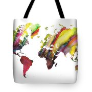 Colored World Map Tote Bag