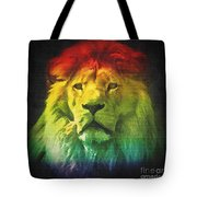 Colorful Artistic Portrait Of A Lion On Black Background  Tote Bag