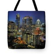 Colorful Austin Skyline At Night Tote Bag