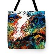Colorful Bear Art - Bear Stare - By Sharon Cummings Tote Bag