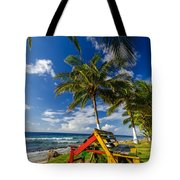 Colorful Bench On Caribbean Coast Tote Bag