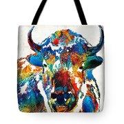 Colorful Buffalo Art - Sacred - By Sharon Cummings Tote Bag