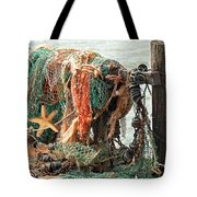 Colorful Catch - Starfish In Fishing Nets Tote Bag