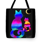 Colorful Cats And The Moon Tote Bag