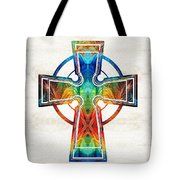 Colorful Celtic Cross By Sharon Cummings Tote Bag