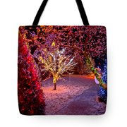 Colorful Christmas Lights On Trees Tote Bag