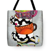 Colorful Coffee Cups Mugs Hot Cuppa Stacked I By Romi And Megan Tote Bag by Megan Duncanson