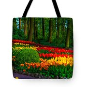 Colorful Corner Of The Keukenhof Garden 4. Tulips Display. Netherlands Tote Bag