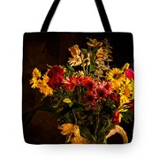 Colorful Cut Flowers In A Vase Tote Bag