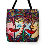Colorful Faces Gazing - Ink Abstract Faces Tote Bag