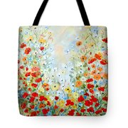 Colorful Field Of Poppies Tote Bag