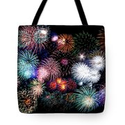 Colorful Fireworks Of Various Colors In Night Sky Tote Bag