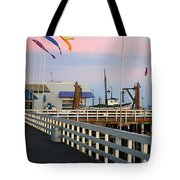 Colorful Flags And Wharf Tote Bag by Debra Thompson