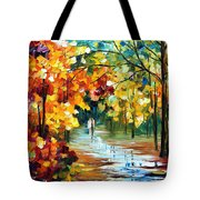 Colorful Forest - Palette Knife Oil Painting On Canvas By Leonid Afremov Tote Bag
