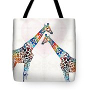 Colorful Giraffe Art - I've Got Your Back - By Sharon Cummings Tote Bag