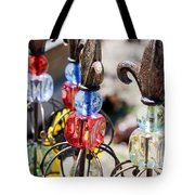 Colorful Glass And Metal Garden Ornaments Tote Bag