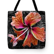 Colorful Hibiscus On Black And White 2 Tote Bag by Kaye Menner