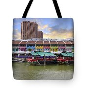 Colorful Historic Houses By River Tote Bag
