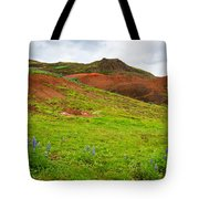 Colorful Iceland Landscape With Green Orange Brown Tones Tote Bag