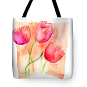 Colorful Illustration Of Red Tulips Flowers  Tote Bag