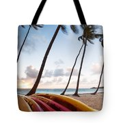 Colorful Kayaks On Beach In The Caribbean Tote Bag
