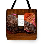 Colorful Knitting Yarn In A Wooden Box Tote Bag