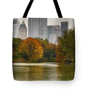 Colorful Magic In Central Park New York City Skyline Tote Bag by Silvio Ligutti