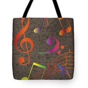 Colorful Musical Notes On Textured Background Illustration Tote Bag