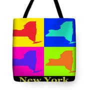 Colorful New York State Pop Art Map Tote Bag