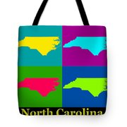 Colorful North Carolina Pop Art Map Tote Bag