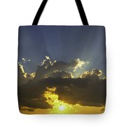 Colorful Orange Yellow Clouds At Sunset Panorama Fine Art Print Tote Bag