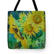 Colorful Original Sunflowers Flower Garden Art Artist K. Joann Russell Tote Bag by Elizabeth Sawyer