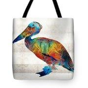 Colorful Pelican Art By Sharon Cummings Tote Bag