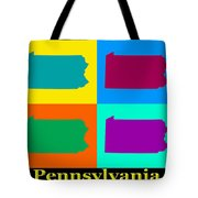 Colorful Pennsylvania Pop Art Map Tote Bag