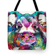 Colorful Pig Art - Squeal Appeal - By Sharon Cummings Tote Bag