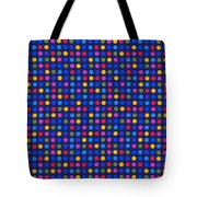 Colorful Polka Dots On Dark Blue Fabric Background Tote Bag