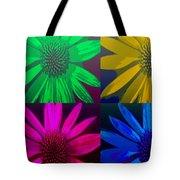 Colorful Pop Art Flowers Tote Bag