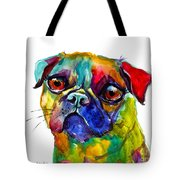 Colorful Pug Dog Painting  Tote Bag