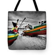 Colorful Retro Ship Boats On The Beach Tote Bag