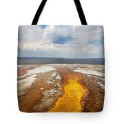 Colorful Runoff From Black Pool Leads To Yellowstone Lake Tote Bag