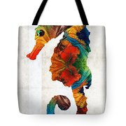 Colorful Seahorse Art By Sharon Cummings Tote Bag
